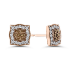 Essentials 10K Rose Gold 5/8 ct White & Brown Diamond Stud Earrings
