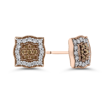 10K Rose Gold 5/8 ct White & Brown Diamond Stud Earrings