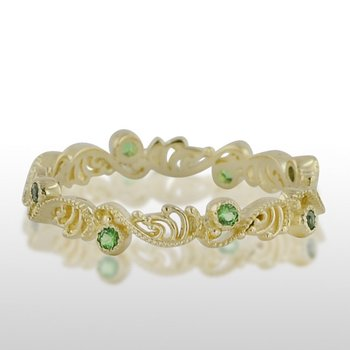 Ladies' Green Gold Green Tzavorite Ring