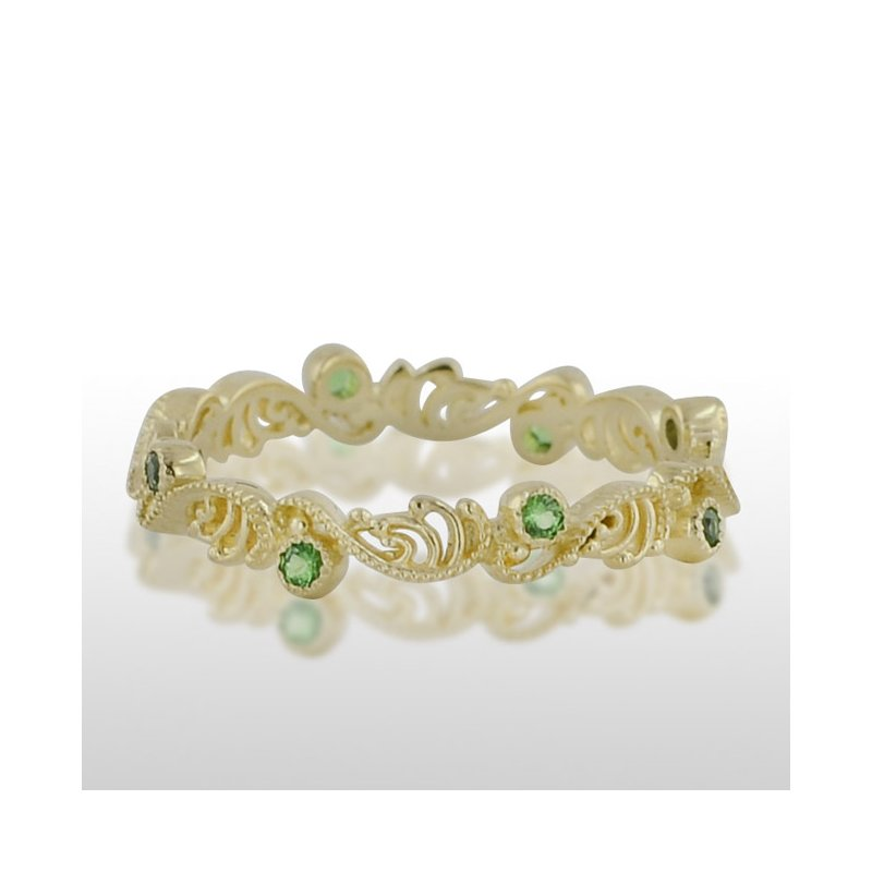Novell Ladies' Green Gold Green Tzavorite Ring