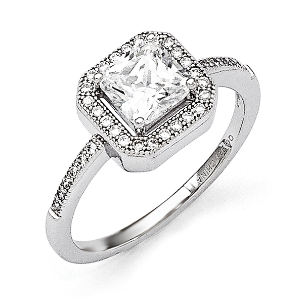 Sterling Silver Wedding Band Sets Solid 4 mm CZ Brilliant Embers 2 Piece Wedding Ring Set