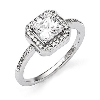 Sterling Silver Rhodium-Plated & CZ Fancy Ring