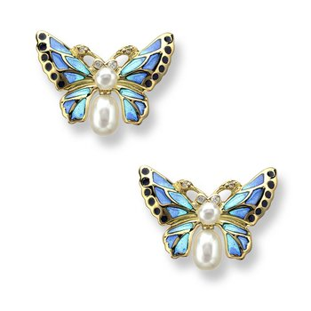 Blue Butterfly Stud Earrings.18K -Diamonds and Freshwater Pearls - Plique-a-Jour