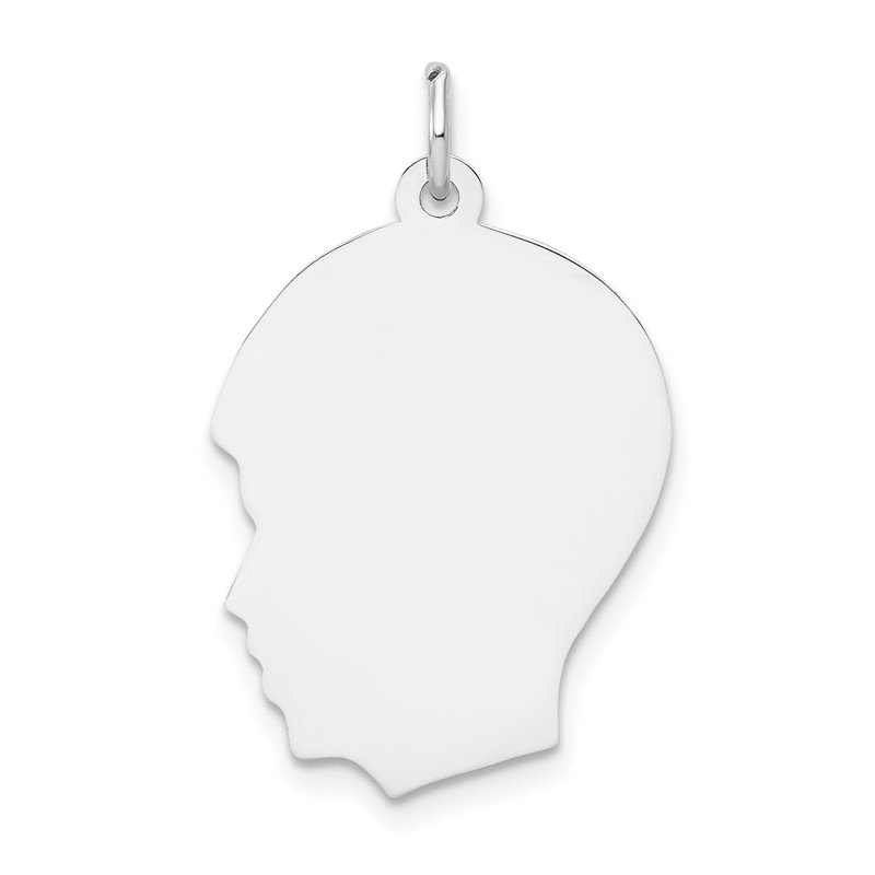 Quality Gold 14k White Plain Medium.013 Depth Facing Left Engravable Boy Charm