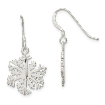 Sterling Silver Satin Snowflake Earrings