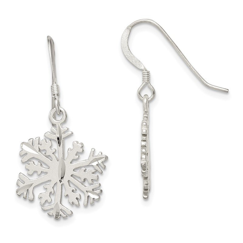 Quality Gold Sterling Silver Satin Snowflake Earrings