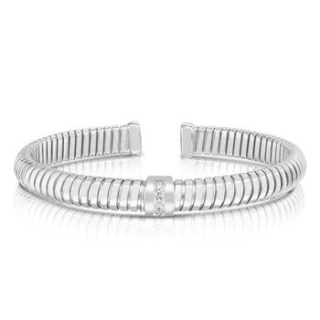 Silver Del Corso White CZ Bangle