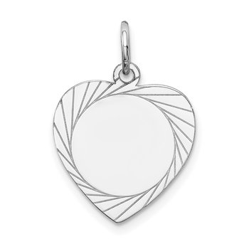 14k White Gold Etched Design .013 Gauge Engravable Heart Charm