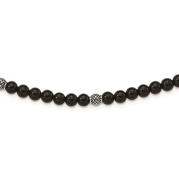 Stainless Steel Antiqued & Polished Blk Agate Beaded w/2in ext. Necklace