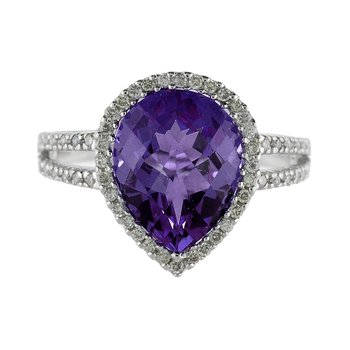 14k White Gold Pear Cushion Amethyst And Diamond Ring