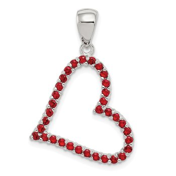 Sterling Silver Rhodium Plated Red CZ Heart Pendant