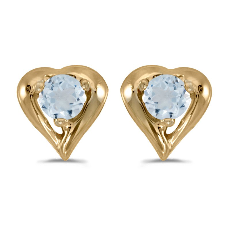 Color Merchants 10k Yellow Gold Round Aquamarine Heart Earrings