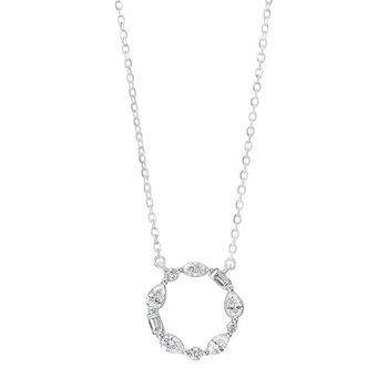 Diamond Wreath Eternity Circle Pendant in 14k White Gold (¼ ctw)