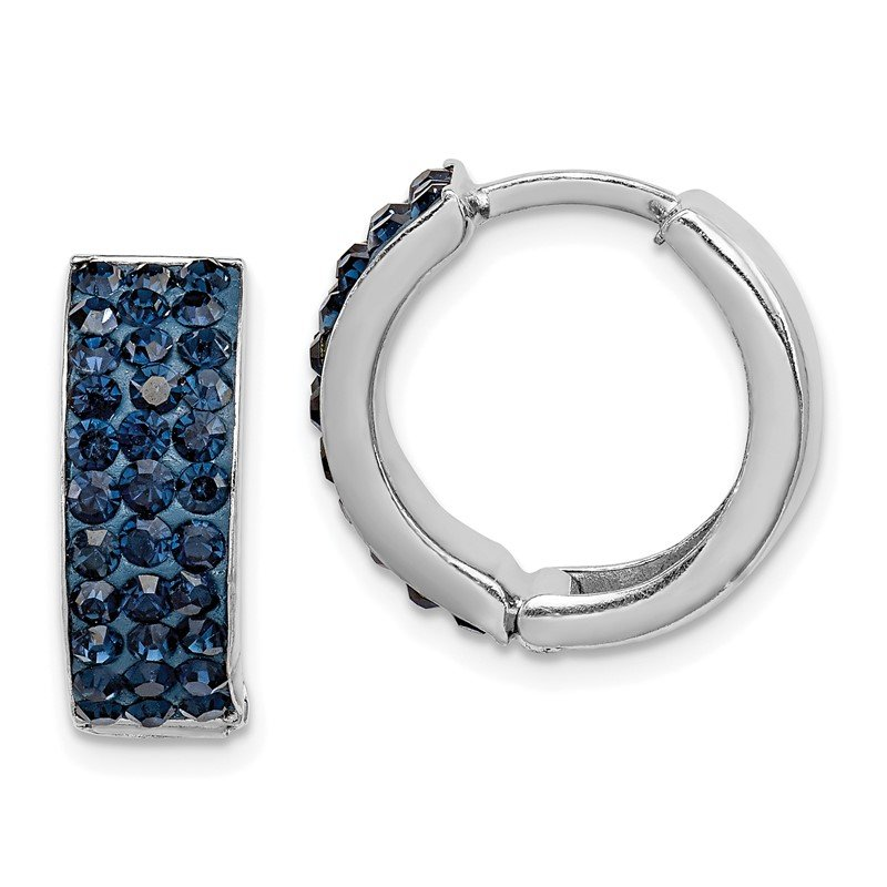 Quality Gold Sterling Silver RH-plated Navy Preciosa Crystal Hinged Hoop Earrings