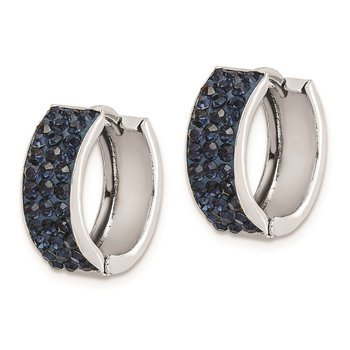 Sterling Silver RH-plated Navy Preciosa Crystal Hinged Hoop Earrings