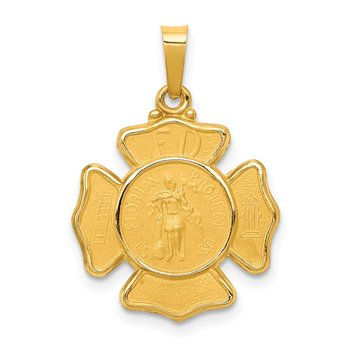 14k Polished and Satin St Florian Badge Medal Hollow Pendant