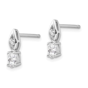 14k White Gold White Topaz and Diamond Post Earrings