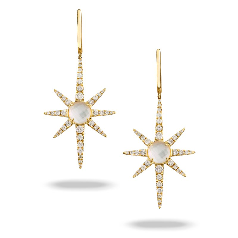 Doves White Orchid Star Dangles 18KY