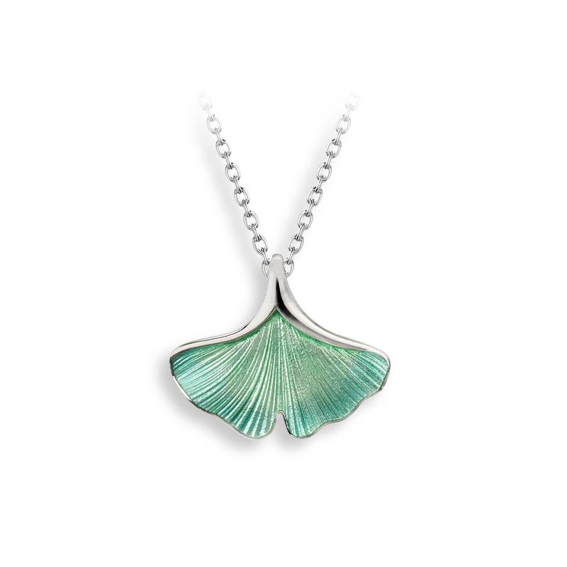 Nicole Barr Designs Turquoise Ginkgo 1-Leaf Necklace.Sterling Silver