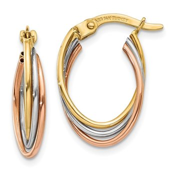 14k Tri-color Twisted Hoop Earrings