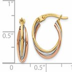 Quality Gold 14k Tri-color Twisted Hoop Earrings