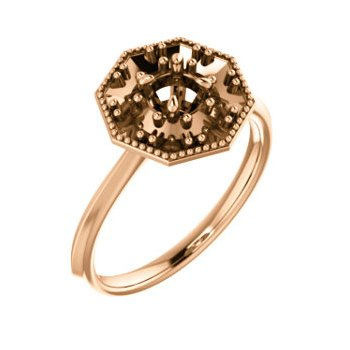 18K Rose 4.4 mm Round Halo-Style Engagement Ring Mounting
