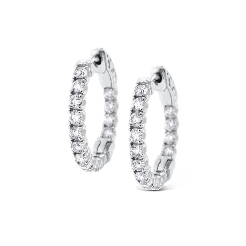KC Designs Diamond Inside Outside Hoops in 14K White Gold with 30 diamonds weighting 1.54ct tw.