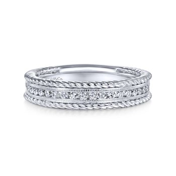 14k White Gold Channel Set Rope Frame Diamond Band