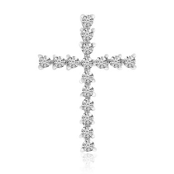 14k White Gold Basic Diamond Cross
