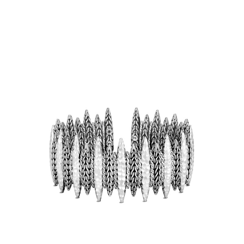 JOHN HARDY Classic Chain 30MM Spear Flex Cuff in Hammered Silver