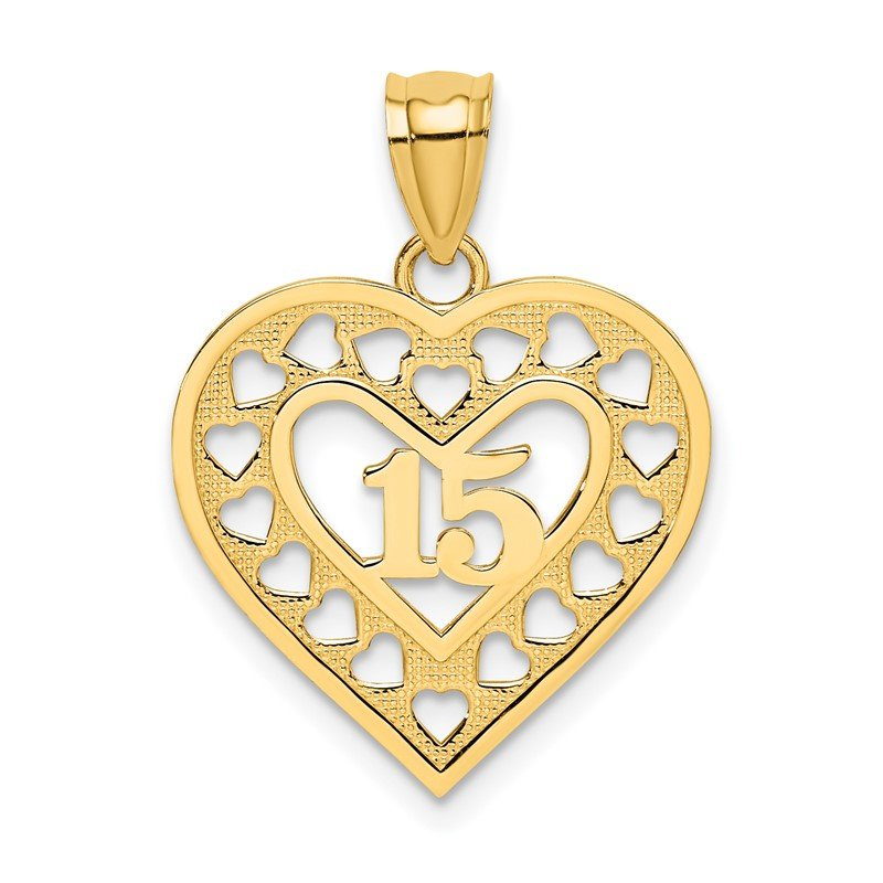 Quality Gold 14K 15 in Cut-out Heart charm