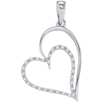 10kt White Gold Womens Round Diamond Heart Pendant 1/8 Cttw