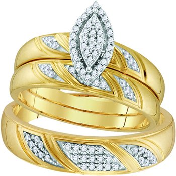 10k Yellow Gold Diamond His & Hers Matching Trio Wedding Engagement Bridal Ring Set 1/4 Cttw