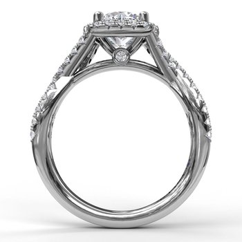 Cushion Halo With Diamond And Gold Twist Engagement Ring