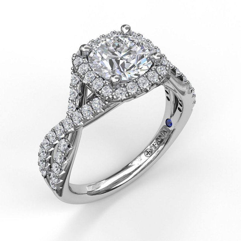 Fana Cushion Halo With Diamond And Gold Twist Engagement Ring