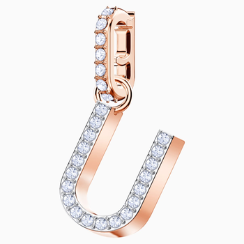 Swarovski Remix Collection Charm U, White, Rose-gold tone plated