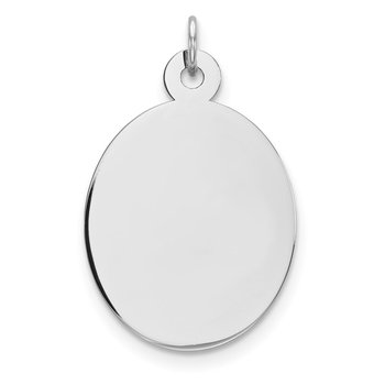 Sterling Silver Rhod-plate Eng. Oval Polish Front/Satin Back Disc Charm