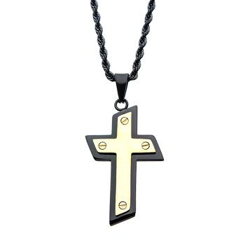Black and Gold Plated Cross Pendant with Chain