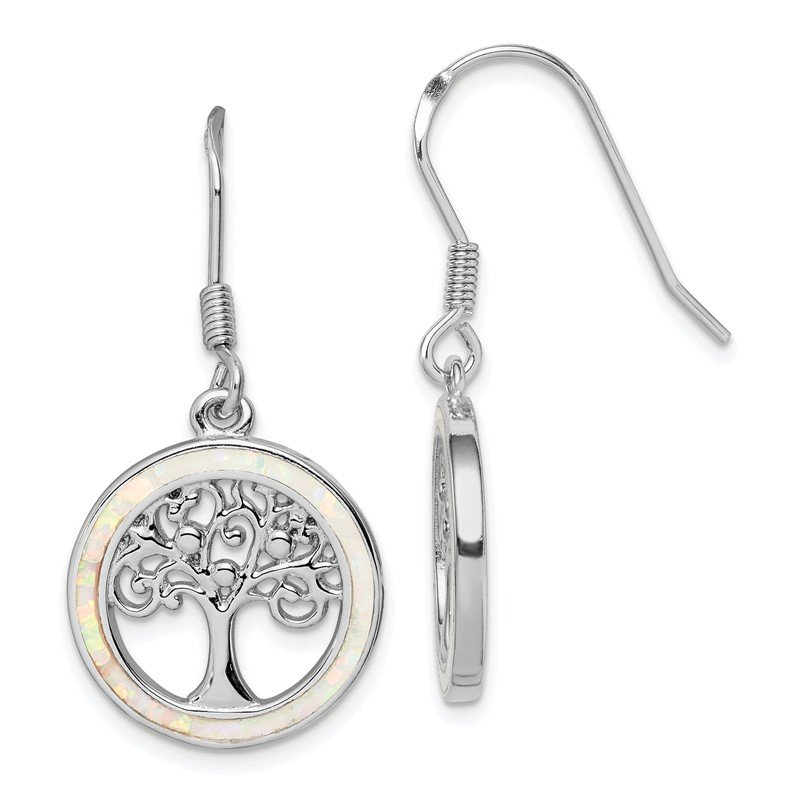 Quality Gold Sterling Silver Rhod-plated Creat Opal Circle w/ Tree Dangle Earrings
