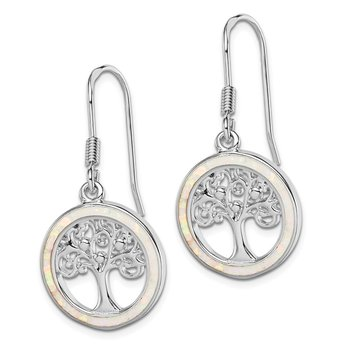 Sterling Silver Rhod-plated Creat Opal Circle w/ Tree Dangle Earrings