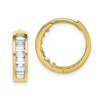 10K CZ Hinged Hoop Earrings