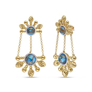 LuvMyJewelry Sunny Cascade Turquoise & Diamond Chandelier Earrings in Sterling Silver & 14 KT Yellow Gold Plating