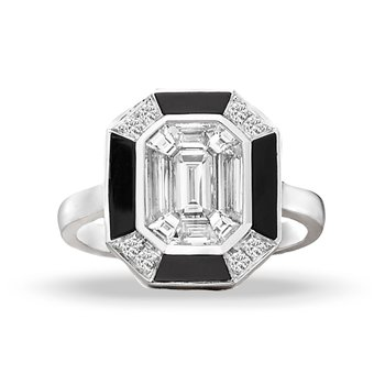 Art Deco Style Mondrian Diamond & Onyx Ring