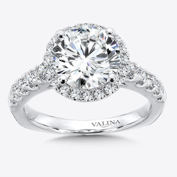 Diamond Halo Engagement Ring in 14k White Gold (0.57 ct. tw.)
