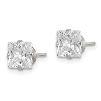 Sterling Silver CZ 6mm Square Post Earrings