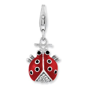Sterling Silver CZ Rhodium Plated 3-D Enameled Lady Bug w/Lobster Clasp Cha