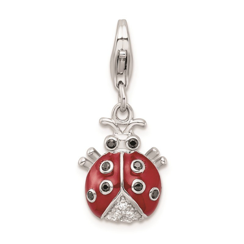 Quality Gold Sterling Silver CZ Rhodium Plated 3-D Enameled Lady Bug w/Lobster Clasp Cha