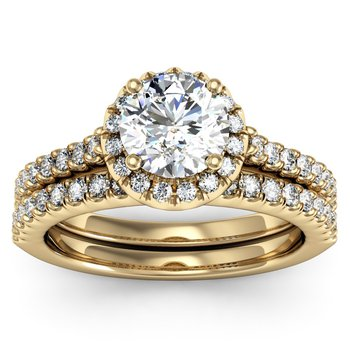 Pave Diamond Halo Ring with Matching Wedding Band
