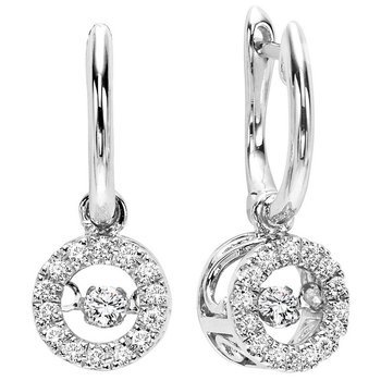 10K White Gold Rhythm of Love Prong Diamond Earrings 1/5CT