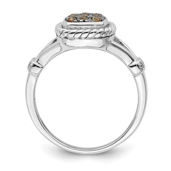 Sterling Silver Rhodium Plated Champagne & Clear CZ Ring